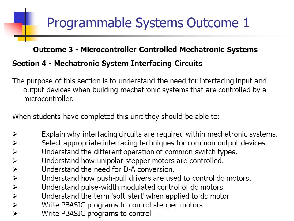Programmable Systems Outcome 1