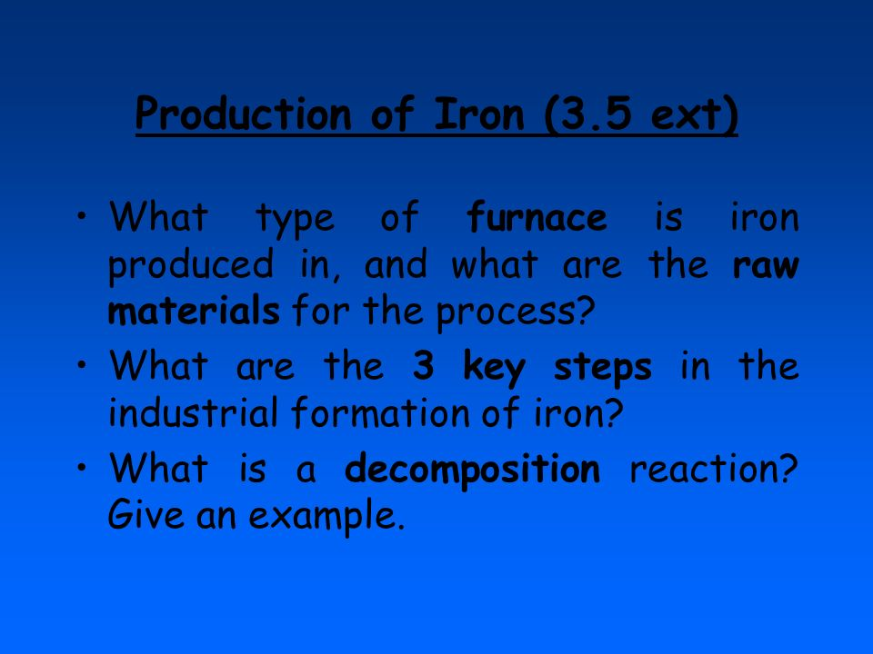 Production of Iron (3.5 ext)