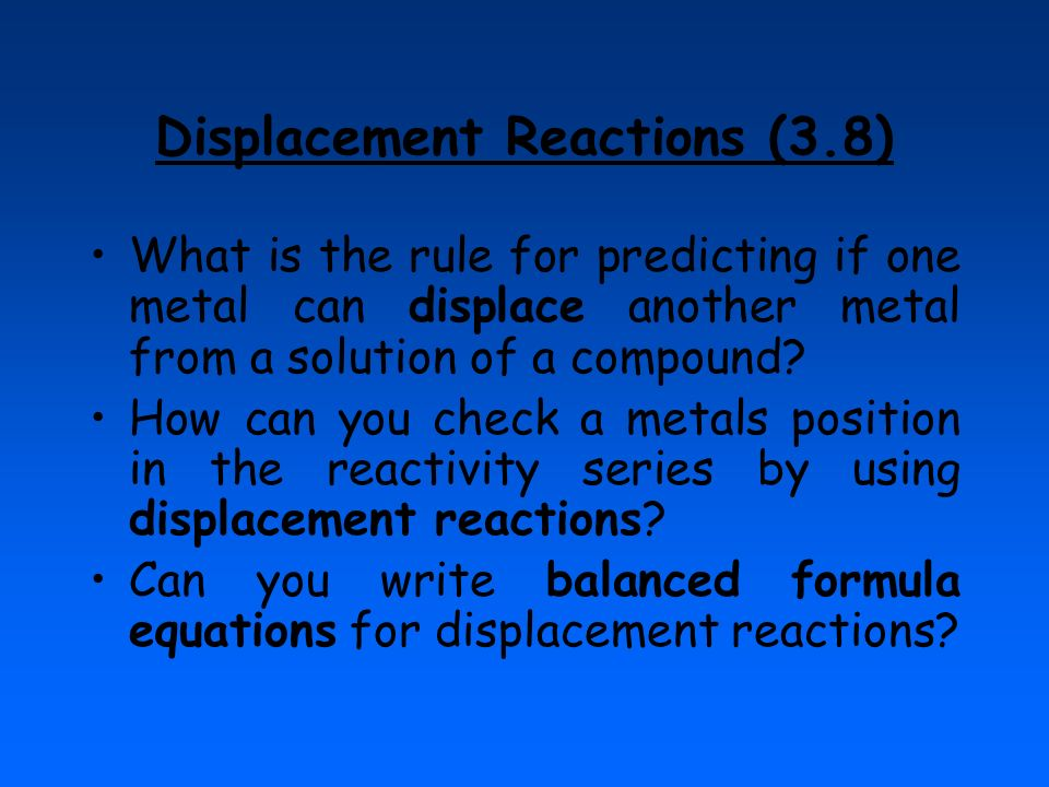 Displacement Reactions (3.8)
