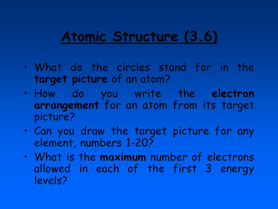 Atomic Structure (3.6) What do the circles stand for in the target picture of an atom
