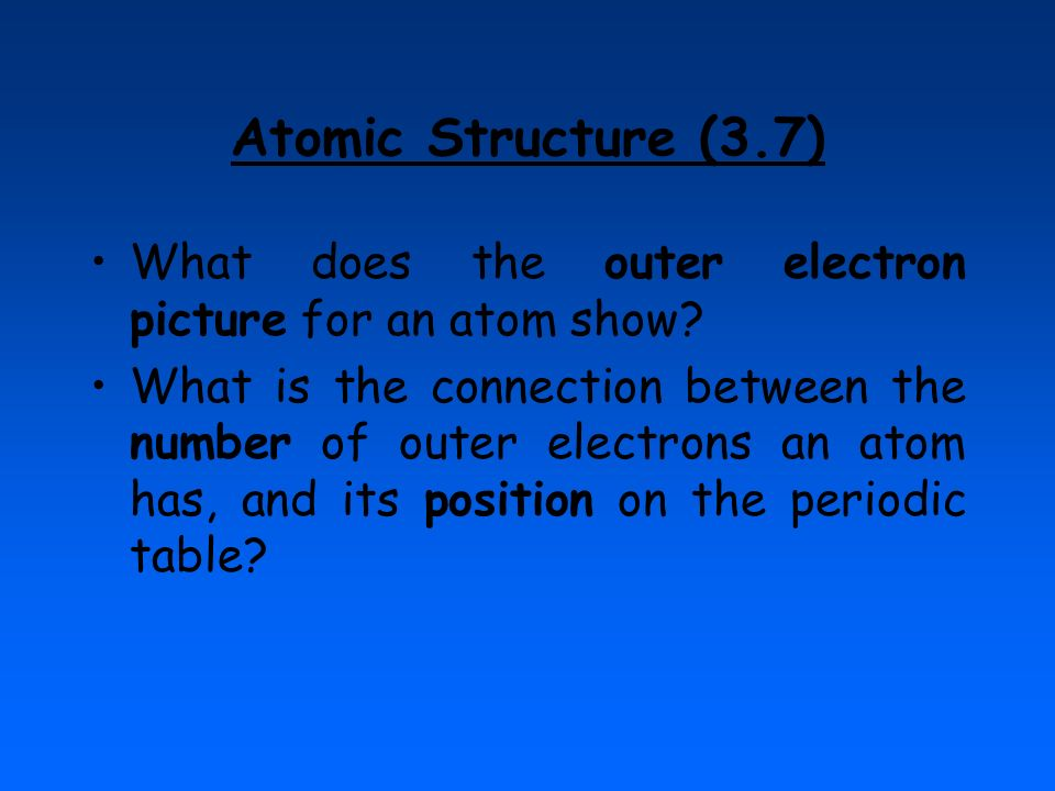 Atomic Structure (3.7) What does the outer electron picture for an atom show