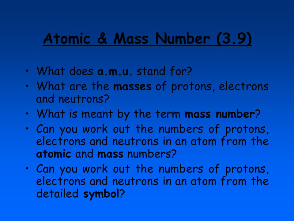 Atomic & Mass Number (3.9) What does a.m.u. stand for