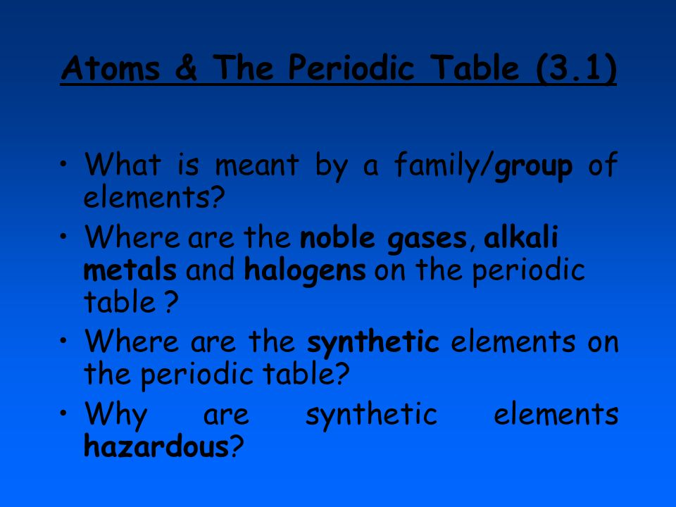 Atoms & The Periodic Table (3.1)