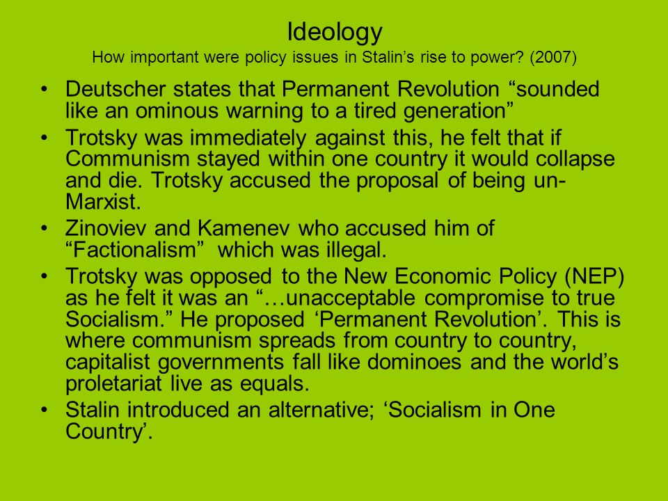 Ideology How important were policy issues in Stalin's rise to power