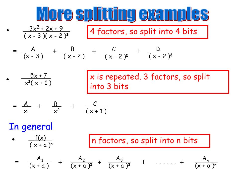 More splitting examples