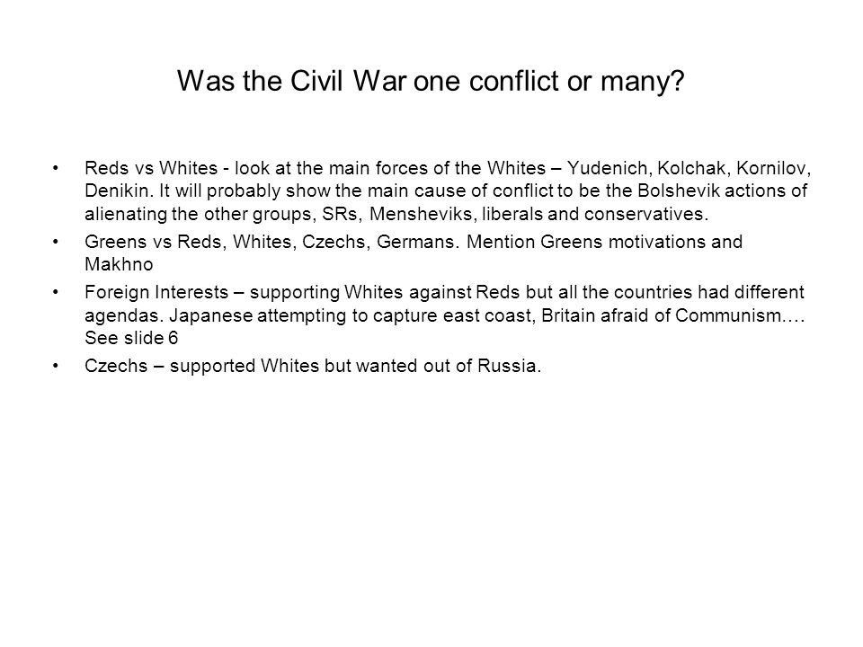 Was the Civil War one conflict or many