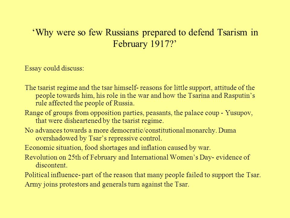 'Why were so few Russians prepared to defend Tsarism in February 1917
