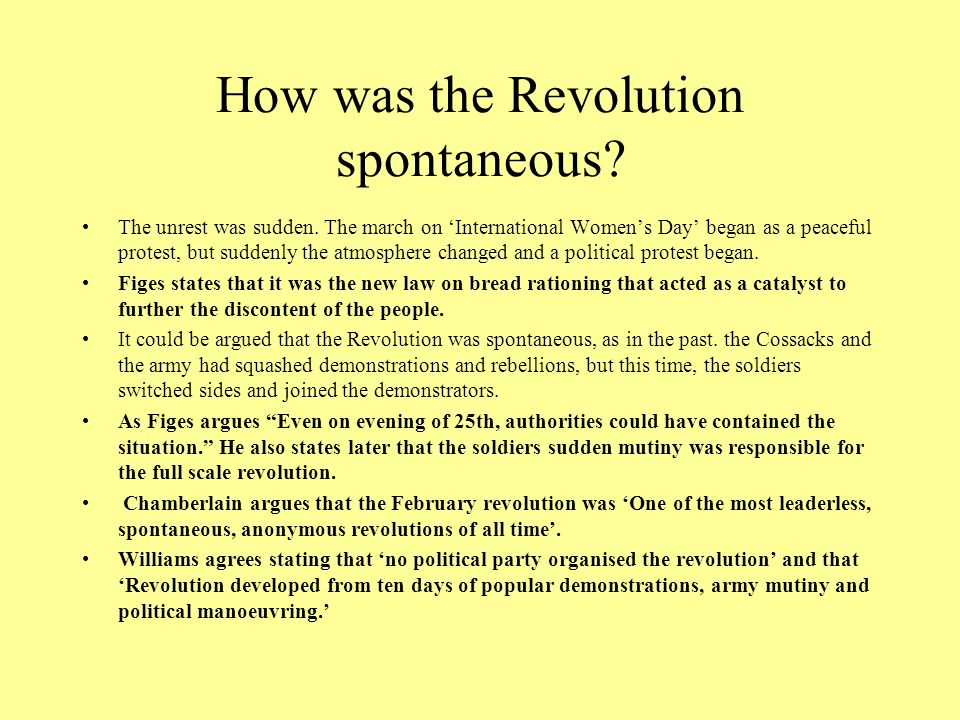 How was the Revolution spontaneous