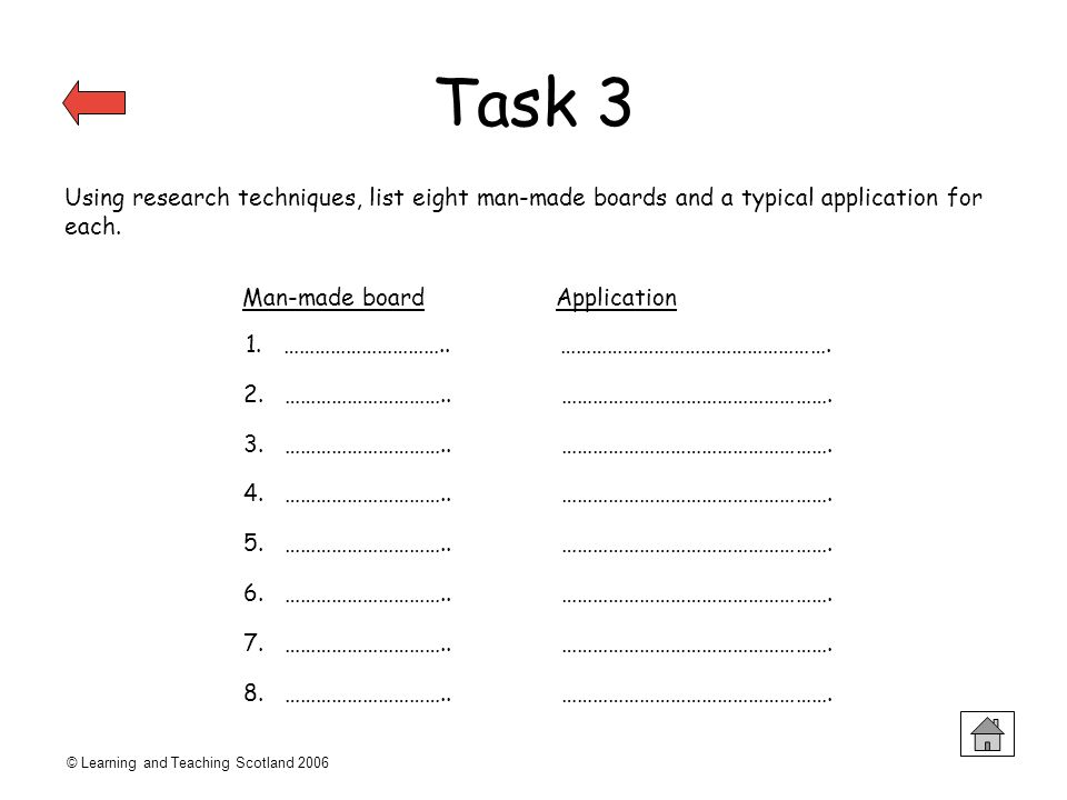Task 3 Using research techniques, list eight man-made boards and a typical application for each. Man-made board Application.