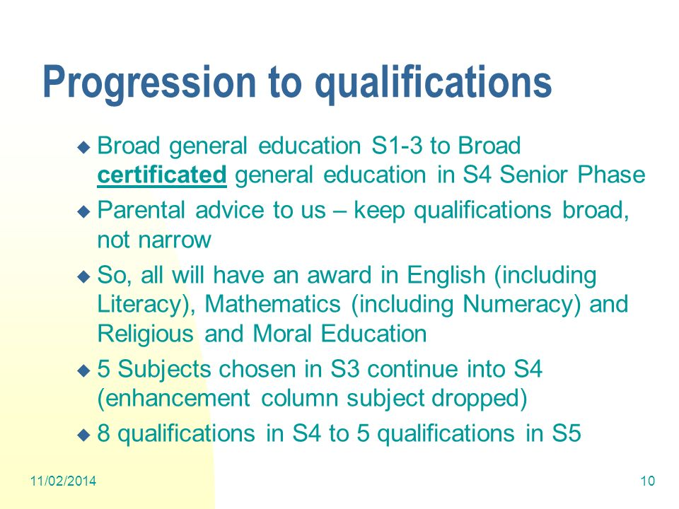 Progression to qualifications