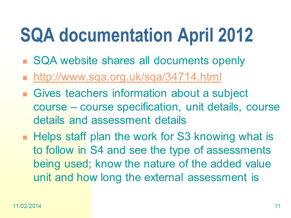 SQA documentation April 2012