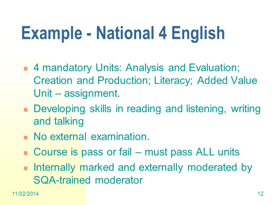 Example - National 4 English