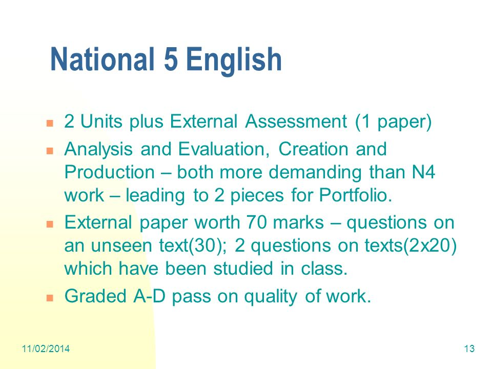 National 5 English 2 Units plus External Assessment (1 paper)