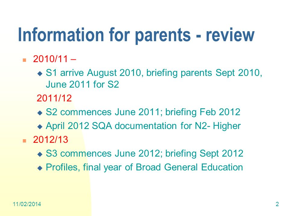 Information for parents - review