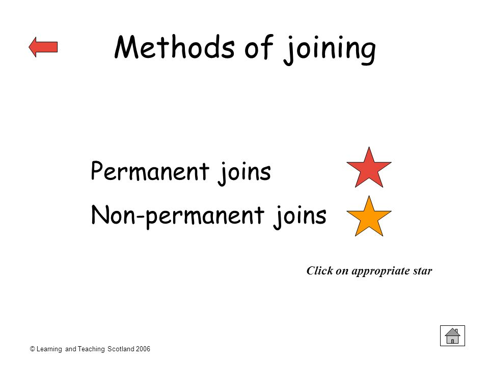 Methods of joining Permanent joins Non-permanent joins