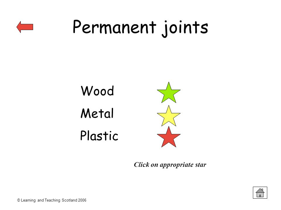 Permanent joints Wood Metal Plastic Click on appropriate star