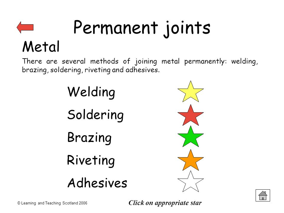 Permanent joints Metal Welding Soldering Brazing Riveting Adhesives