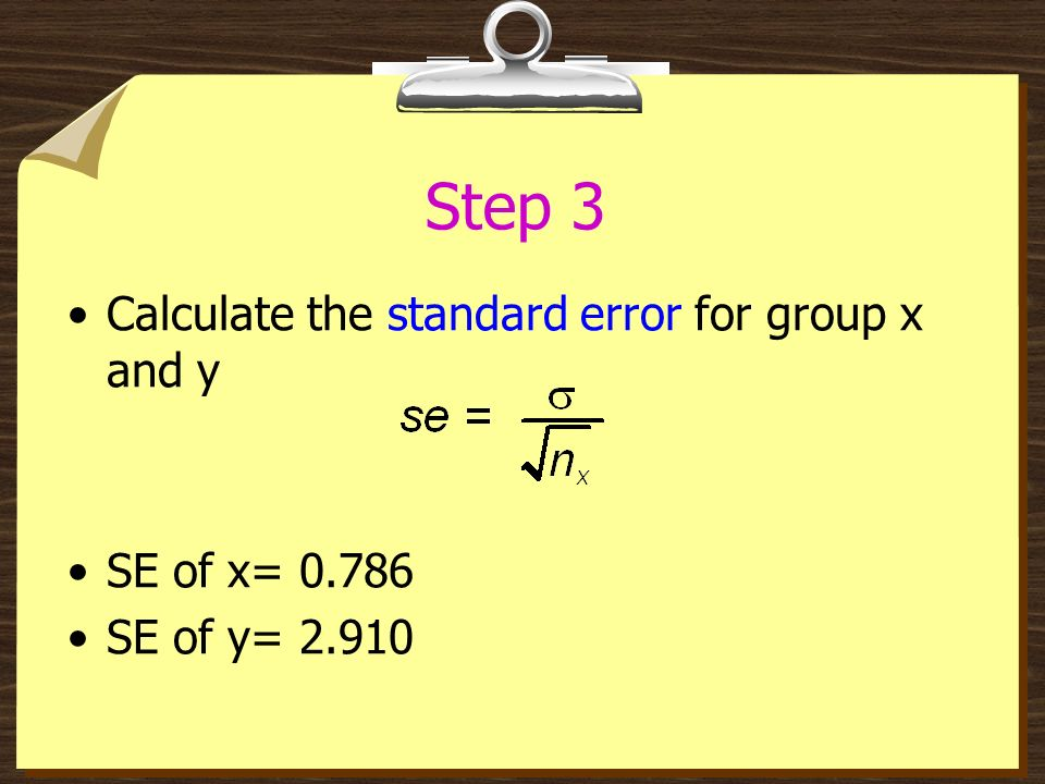 Step 3 Calculate the standard error for group x and y SE of x= 0.786