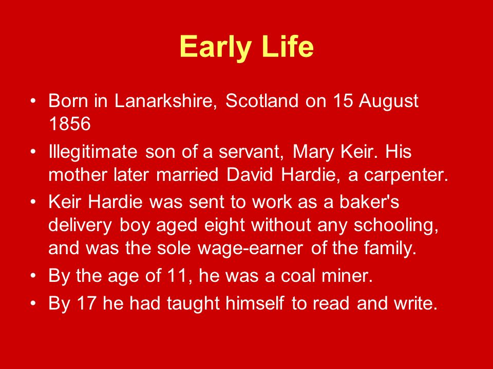 Early Life Born in Lanarkshire, Scotland on 15 August 1856