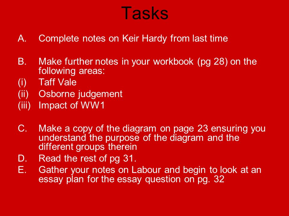 Tasks A. Complete notes on Keir Hardy from last time