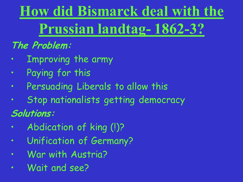 How did Bismarck deal with the Prussian landtag- 1862-3
