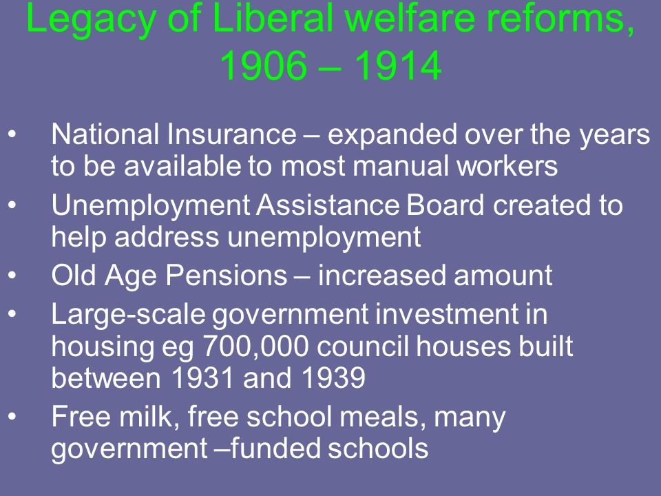 Legacy of Liberal welfare reforms, 1906 – 1914