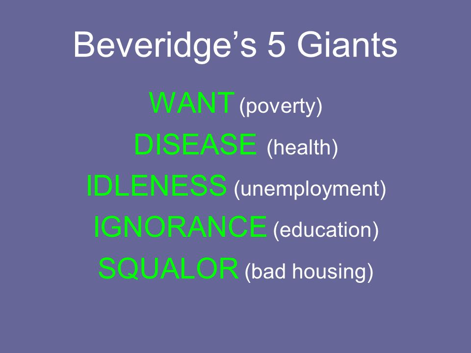 Beveridge's 5 Giants WANT (poverty) DISEASE (health)
