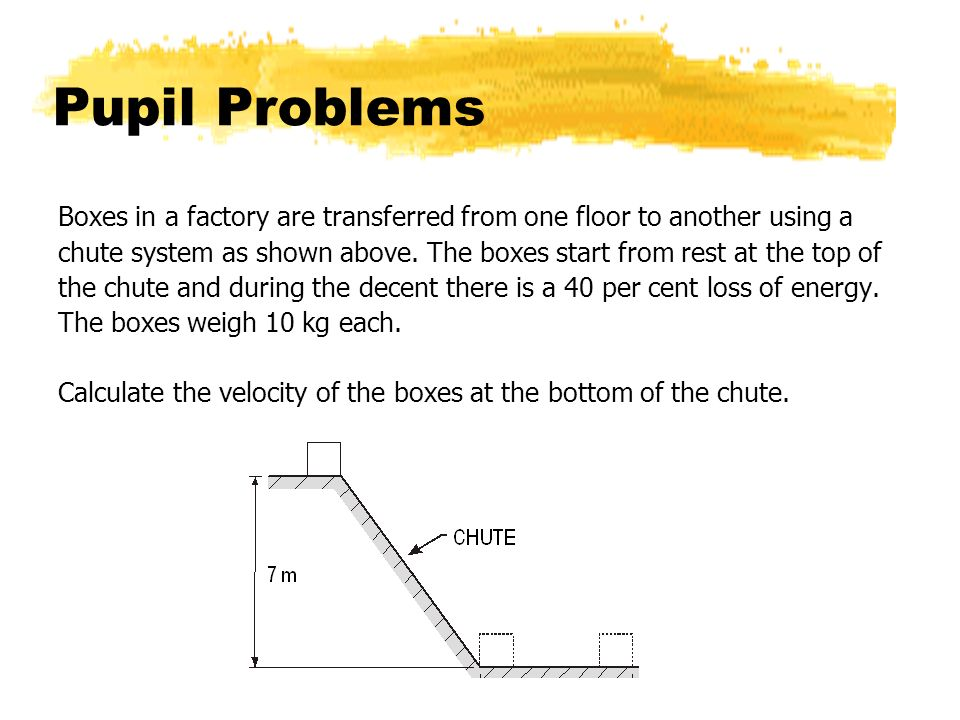 Pupil Problems Boxes in a factory are transferred from one floor to another using a.