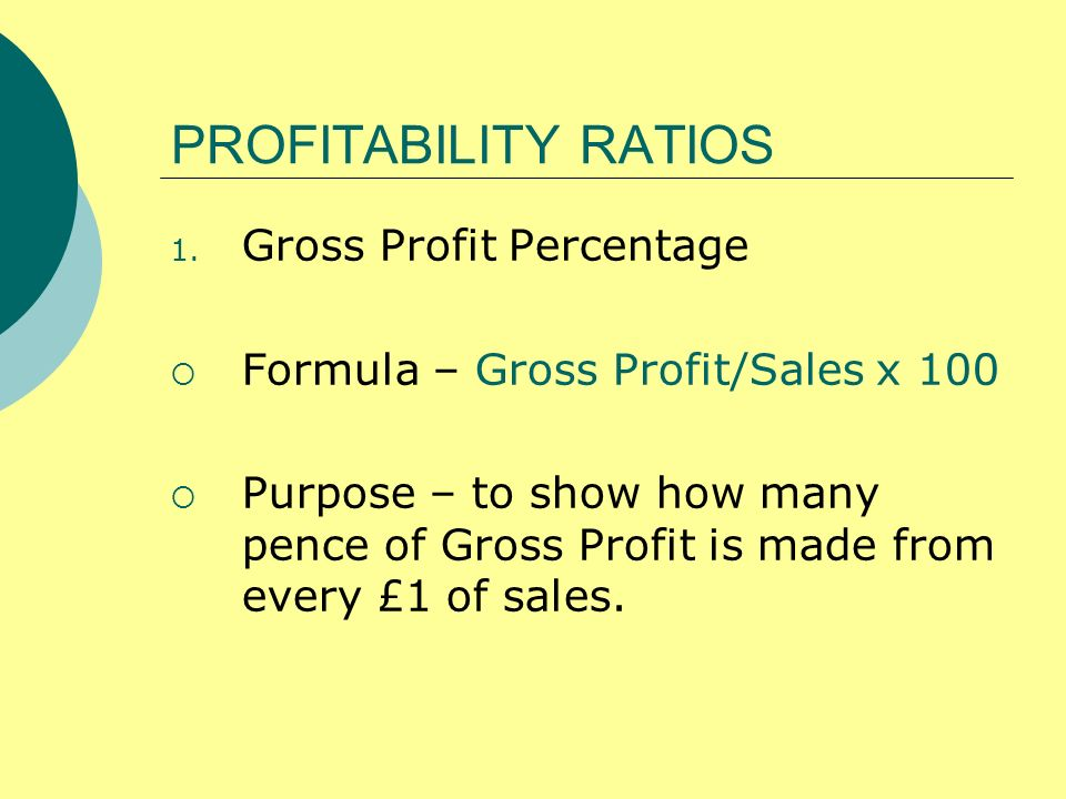PROFITABILITY RATIOS Gross Profit Percentage