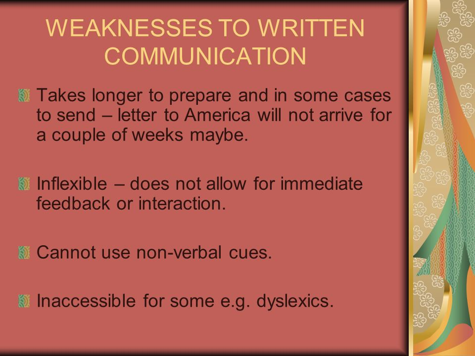 WEAKNESSES TO WRITTEN COMMUNICATION