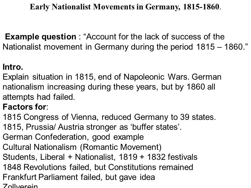Early Nationalist Movements in Germany, 1815-1860.