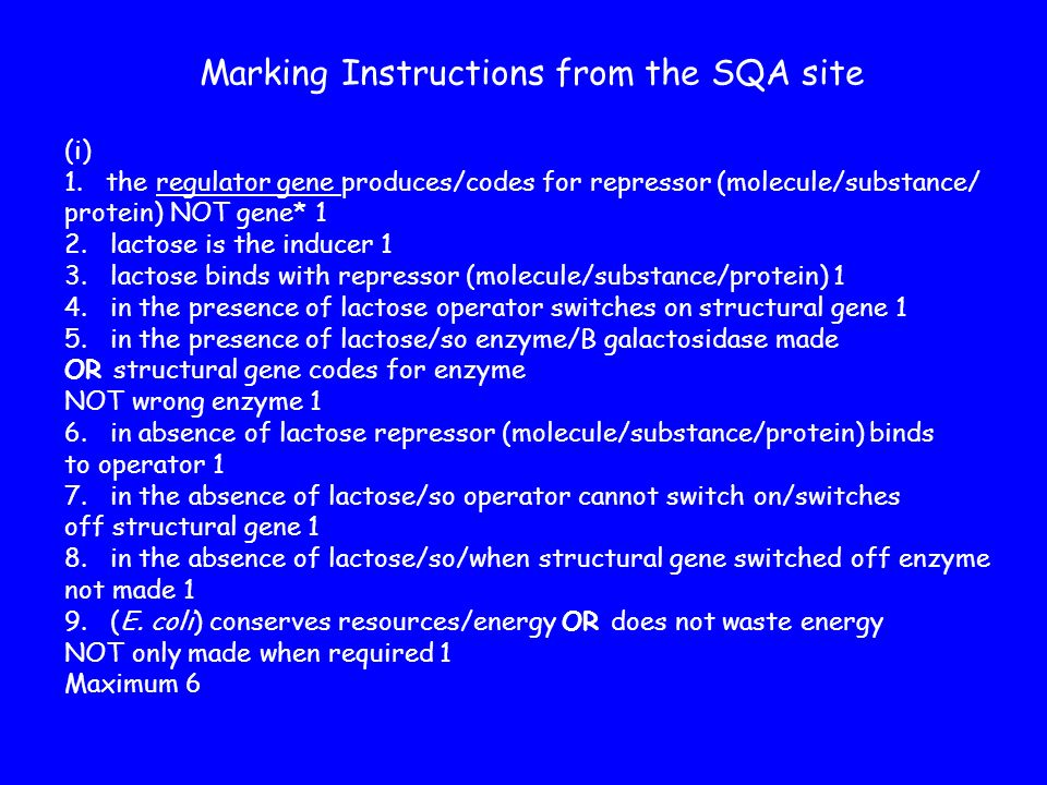 Marking Instructions from the SQA site