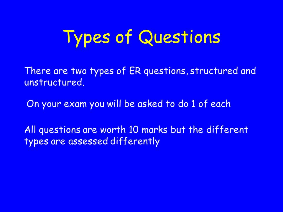 Types of Questions There are two types of ER questions, structured and unstructured. On your exam you will be asked to do 1 of each.