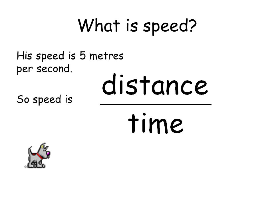 What is speed His speed is 5 metres per second. So speed is