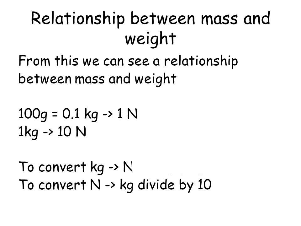 Relationship between mass and weight