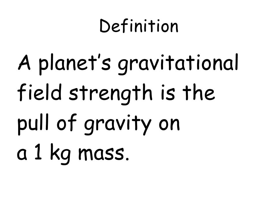 A planet's gravitational field strength is the pull of gravity on