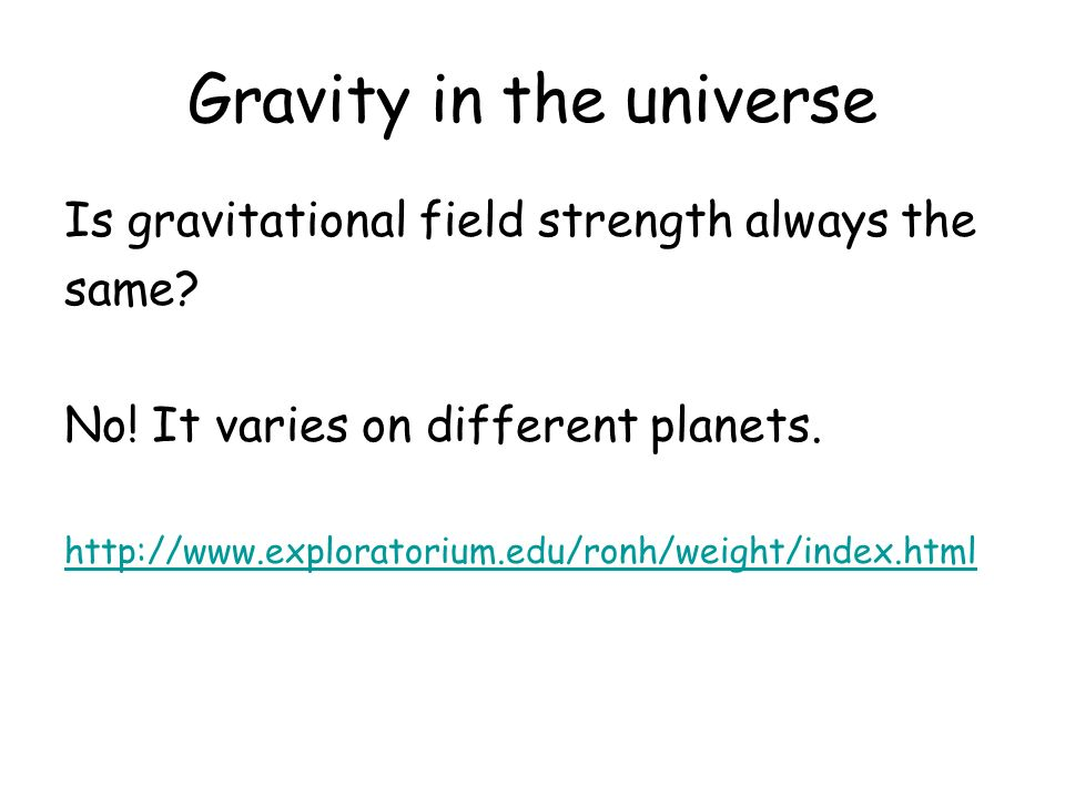 Gravity in the universe