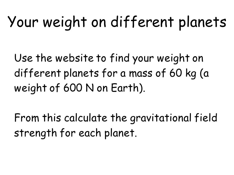 Your weight on different planets
