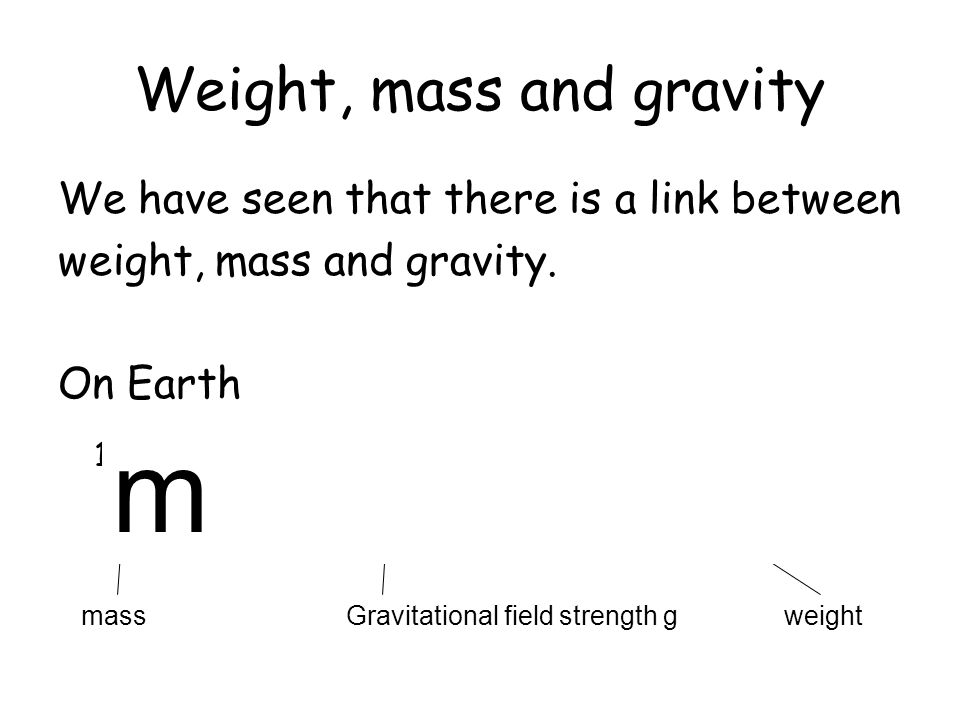 Weight, mass and gravity
