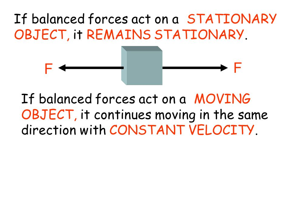 If balanced forces act on a STATIONARY OBJECT, it REMAINS STATIONARY.