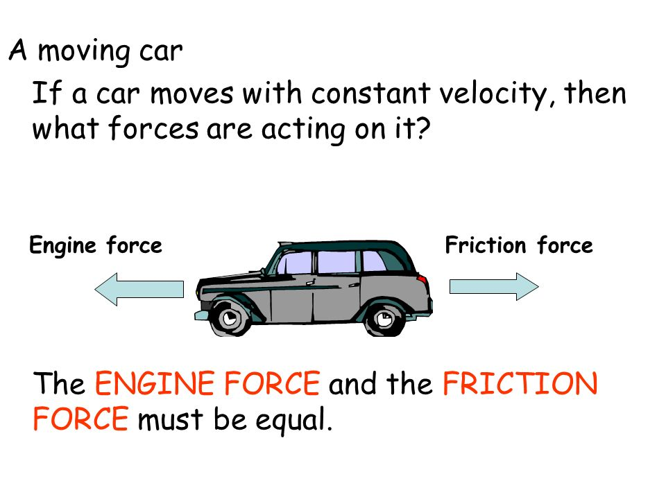 The ENGINE FORCE and the FRICTION FORCE must be equal.