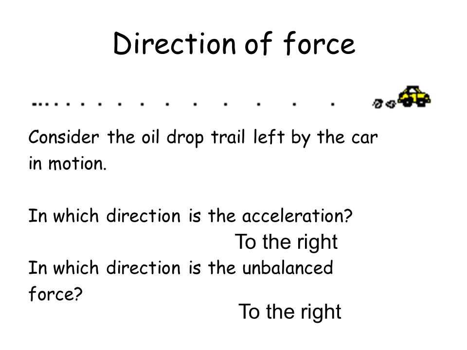 Direction of force To the right To the right