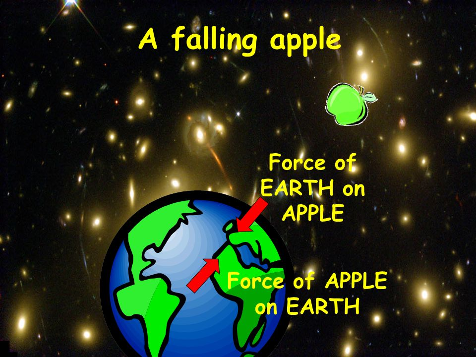 A falling apple Force of EARTH on APPLE Force of APPLE on EARTH