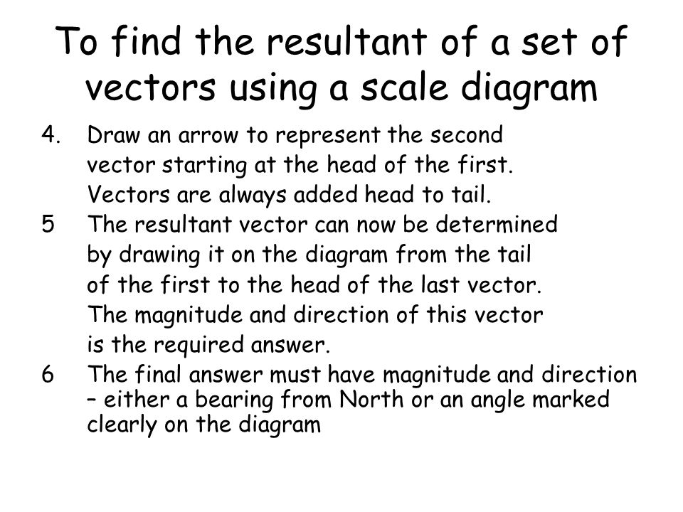 To find the resultant of a set of vectors using a scale diagram