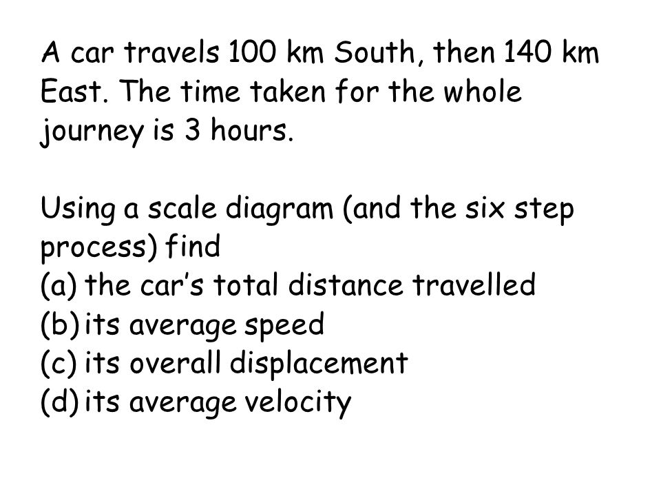 A car travels 100 km South, then 140 km