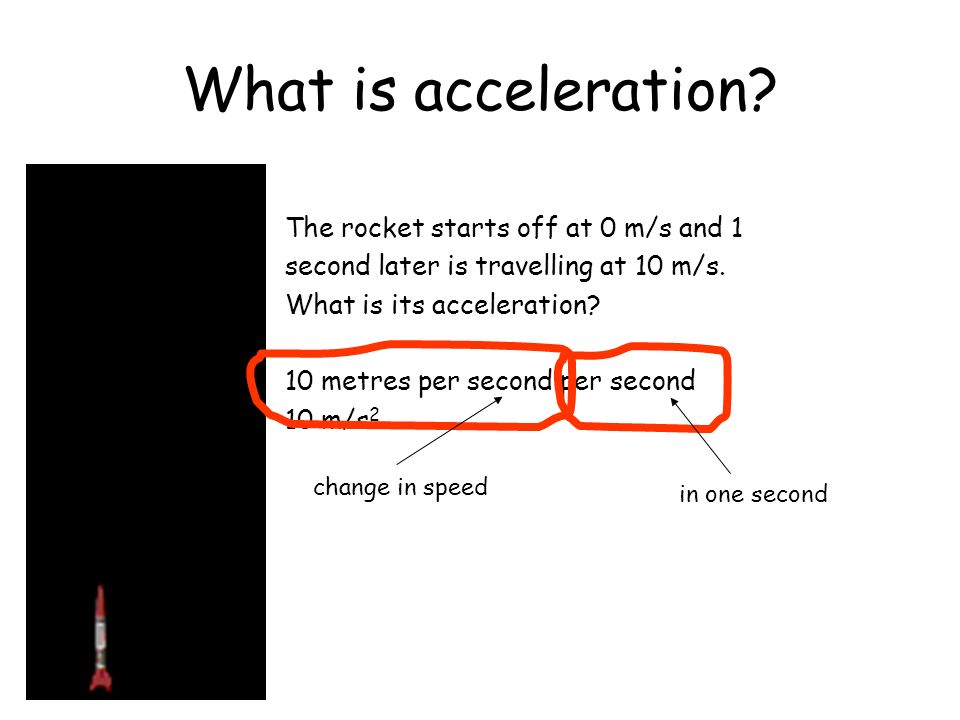 What is acceleration The rocket starts off at 0 m/s and 1
