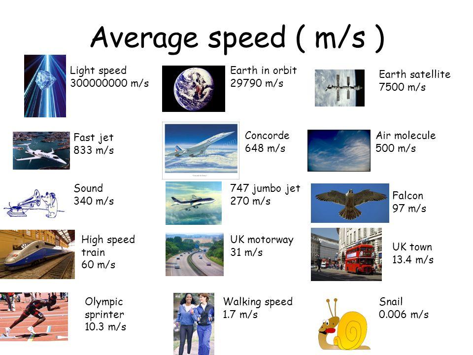 Average speed ( m/s ) Light speed 300000000 m/s Earth in orbit