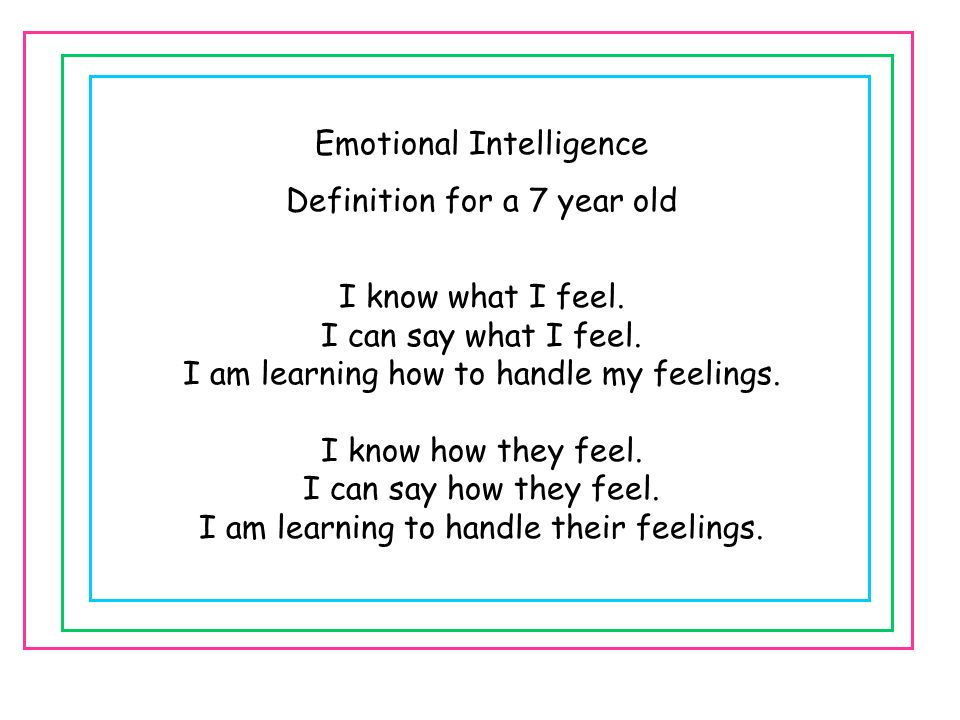 Emotional Intelligence Definition for a 7 year old