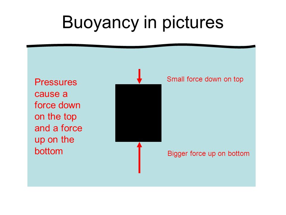Buoyancy in pictures Pressures cause a force down on the top and a force up on the bottom. Small force down on top.