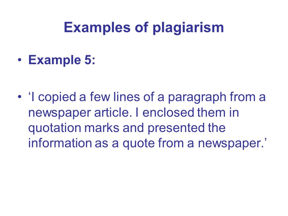 Examples of plagiarism